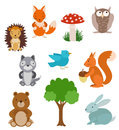 Set of cute cartoon animals. Forest collection with tree