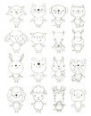 Set of cute cartoon animals outlines Royalty Free Stock Photo