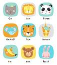 Set of cute cartoon animals.