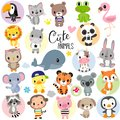 Cute Cartoon Animals on a white background Royalty Free Stock Photo