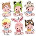 Set of Cute Cartoon Babies