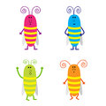 Set of cute cartoon cockroach vector illustration Royalty Free Stock Photos