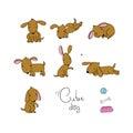 Set of cute cartoon dogs.