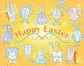 Image with set of cute cartoon Easter bunnies on yellow background, illustration for Easter holiday