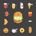 Set of cute cartoon fast food characters . French fries , pizza , donut , hot dog , popcorn , hamburger , cola