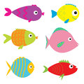 Set of cute cartoon fishes. Isolated. Royalty Free Stock Photo