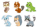 Set of cute cartoon forest animals