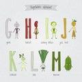 Set with cute cartoon funny vegetables alphabet