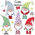 Set of Cute Cartoon Gnomes