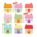 Set of cute cartoon houses for sale Royalty Free Stock Images