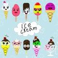 Set of cute cartoon ice creams in japan kawaii style Royalty Free Stock Photo