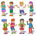 Set of cute cartoon kids eps file simple technique no gradients no effects no mesh no transparencies Royalty Free Stock Photo