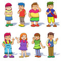 Set of cute cartoon kids eps file simple technique no gradients no effects no mesh no transparencies Stock Photos