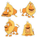 Set of cute cartoon lions