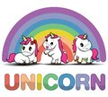 Set Cute Cartoon Smiling Unicorn on a white background with stars and dots