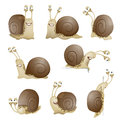 Set of cute cartoon snails. vector Royalty Free Stock Photo