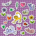 Set of cute cartoon stickers Stock Photo