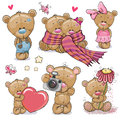 Set of Cute Cartoon Teddy Bear Royalty Free Stock Photo