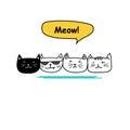 Set of cute cat doodle art.