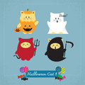 Set of cute cat in halloween costumes Stock Photo