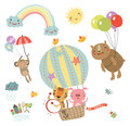 Set Cute characters. Flying animals