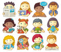Set of cute characters for web menu vector smiling categories in presentations webmenu design etc Stock Photo