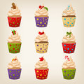 Set of cute christmas cupcakes colourful Stock Photography