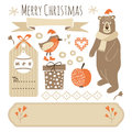 Set of cute christmas graphic elements, objects