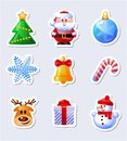 Set of cute Christmas stickers. Royalty Free Stock Photo