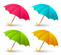 Set of cute color umbrellas on white background Royalty Free Stock Images