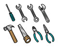 Set cute colorful cartoon carpenter tool icons Royalty Free Stock Photo