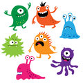 Set of cute colorful monsters Royalty Free Stock Photo