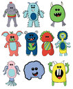 Set of Cute Colorful Monsters Cartoons Collection Aliens Royalty Free Stock Photo