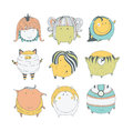 Set of cute colorful monsters, hand drawn in doodle style, isolated on white background. Lovely characters collection. Vector