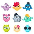 Set of cute colorful owls with different glasses and hats. Cartoon bird emojis and stickers.