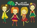 Set of cute colorful princesses this is file eps format Stock Photo