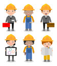 Set of cute construction Engineering Industrial Workers Project Manager isolated on white background, Engineer man and woman. Royalty Free Stock Photo