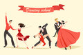 Set of cute couples dancing