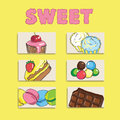 Set of cute creative card templates with sweets theme design. Ha