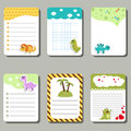 Set of cute creative cards with cartoon dinosaurs.