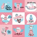 Set of cute creative cards with funny cats in love. Vector design templates for valentines, greeting and gift cards