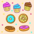 Set of cute cupcake and doughnut vector illustration