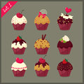 Set of  cute cupcakes. Stock Photography