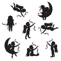 Set of cute cupid on white background silhouette with bow and arrow Royalty Free Stock Photo