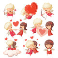 Set of cute cupids. Royalty Free Stock Photos