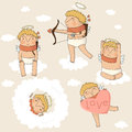 Set of cute cupids in vector cupid with an arrow cupid peeping from behind the clouds cupid with heart hands Stock Image