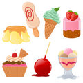 Set of cute desserts Stock Image