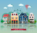 Set of cute detailed vector old city houses. European retro style building facades.