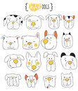 Set of 16 cute dogs doodle .  Sketch dog. Royalty Free Stock Photo