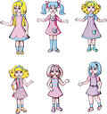 Set of cute dolls girl color vector illustrations Royalty Free Stock Photos